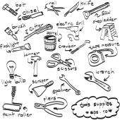 Vector hand getrokken set tools leveringen, doodles — Stockvector