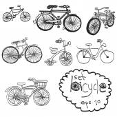 Vector hand drawn set of bicycle, doodles — ストックベクタ