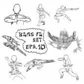 Vector hand drawn set of China's kung fu, doodles  — 图库矢量图片