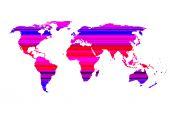 Mapa do mundo colorido sobre fundo branco — Foto Stock