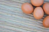 Eggs on thai traditional mat  — Stock Photo