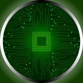 Cpu del tablero de circuito en la circunferencia — Vector de stock