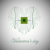 Printed circuit board with processor in the form of heart. Happy Valentines Day.Vector illustration — Stock Vector