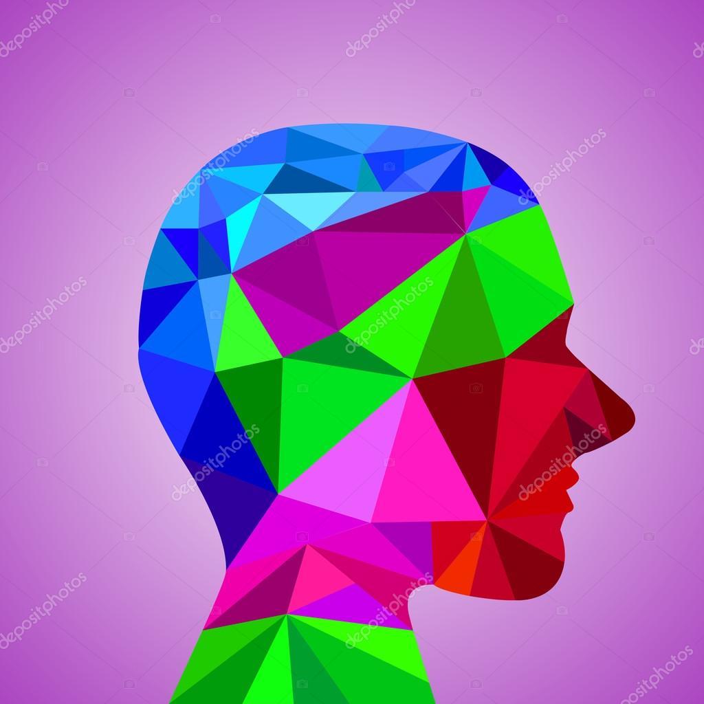 几何彩色三角形的人头.矢量图.eps