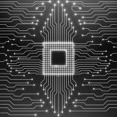 Cpu. Circuit board. Vector illustration. Eps 10 — Stock Vector