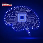 Cerveau. unité centrale de traitement. circuit imprimé. illustration vectorielle. Eps 10 — Vecteur
