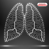 Neon human lung. Circuit board. Vector illustration. Eps 10 — Stock Vector