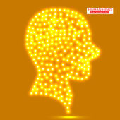 Neon human head. Vector illustration. Eps 10 — Stock Vector