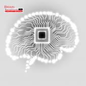 Cérebro de néon. Cpu. Placa de circuito. Ilustração em vetor. Eps 10 — Vetor de Stock
