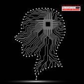Human head. Cpu. Circuit board. Vector illustration. Eps 10 — Stock Vector