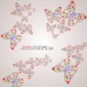Molecule DNA along the contour butterflies. Abstract background. Vector illustration — Stock Vector