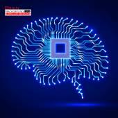 Neon brain. Cpu. Circuit board. Vector illustration. Eps 10 — Stock Vector