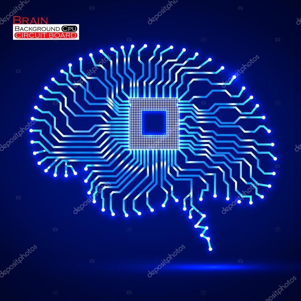 Neon brain. Cpu. Circuit board. Vector illustration. Eps ...