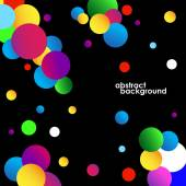 Abstract colorful circles background on black. Vector illustration. Eps 10 — Stock Vector