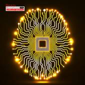 Neon brain. Cpu. Circuit board. Abstract technology background. Vector illustration. Eps 10 — Stock Vector