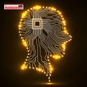 Neon human head. Cpu. Circuit board. Vector illustration. Eps 10 — Stock Vector