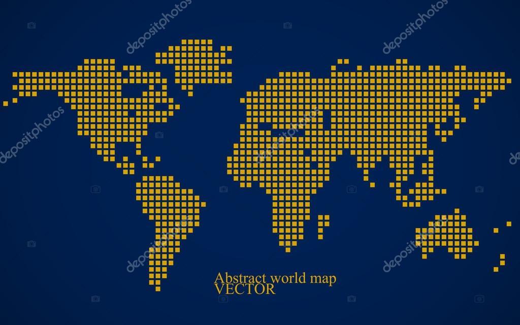 抽象的世界地图.彩色像素的背景.矢量图.eps 10