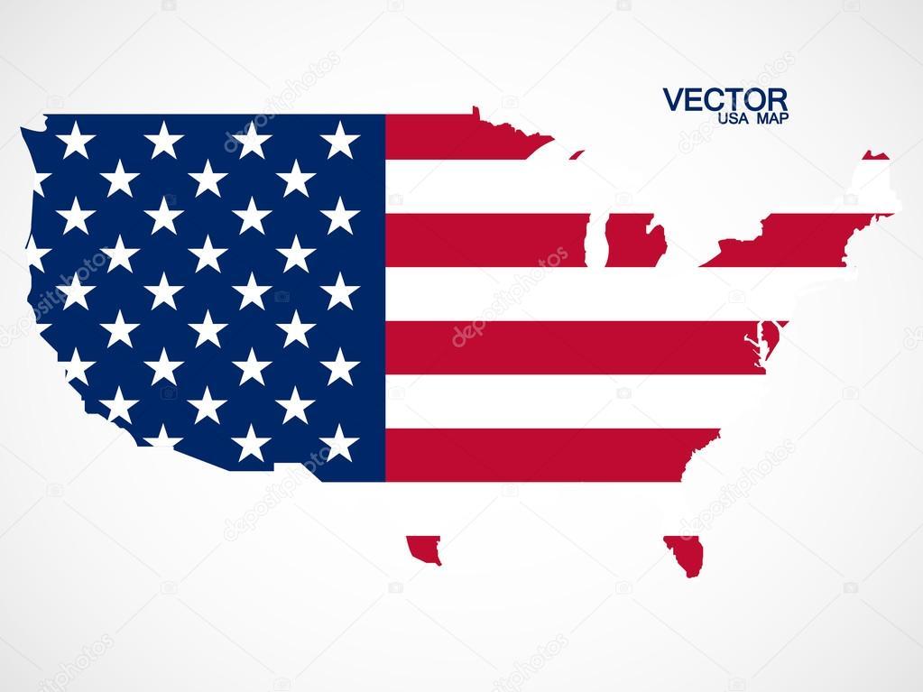 地图的美国国旗.矢量图.eps 10