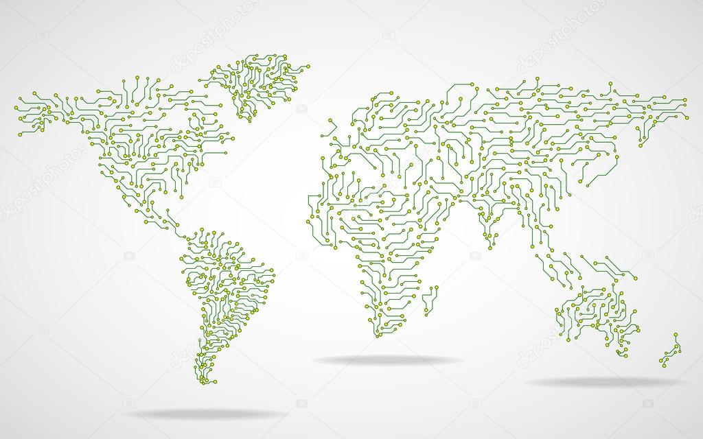 世界地图.电路板.技术背景.矢量图