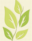 Green leaves over tan circle background pattern — Vector de stock