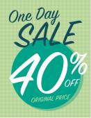 One day sale sign with 40 off original price — Stock Vector