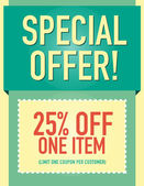 Special offer 25 off coupon page layout — Stock Vector