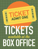 Tickets available at the box office poster — Stockvector