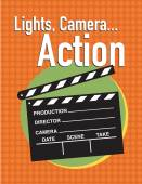 Light, camera, action movie poster with clapper slate — Stock Vector