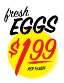 Fresh eggs sale sign with 1.99 per dozen price — Stock Vector