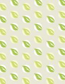 Green leaf repeating pattern over tan background — Stock Vector
