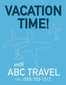 Vacation time travel poster with air plane in flight. — Stock Vector
