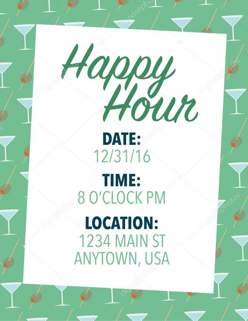 happy hour uitnodiging stockvector © rmackayphoto 71430955 happy hour uitnodiging over groene kleur achtergrond vector van rmackayphoto