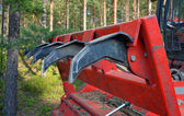 Fragment of a nozzle of a forestry mulcher. Teeths. — Stock Photo