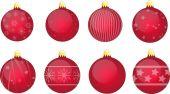 Xmas bulbs set red — Stock Vector
