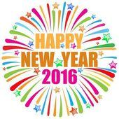 Happy new year 2016 white — Stok Vektör