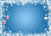 Rozhdesvensky Christmas background with snowflakes and toys — Stock Photo