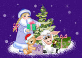 New year. Maiden, bear and sheep have a Christmas tree with gifts — Foto de Stock