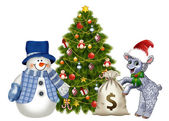 Lamb and snowman in a Christmas tree with a bag of money — Stock Photo