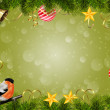 Christmas background with ornaments and -fotoramka bullfinch — Stock Photo #58248355