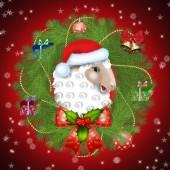 New ram Santa Claus in Christmas tree wreath — Стоковое фото
