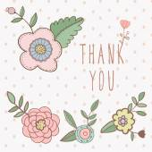Thank you card. floral with text and flowers — Stock Vector
