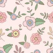 милая рука нарисованные цветы шаблон — Cтоковый вектор