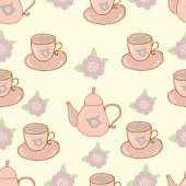 Seamless nature pattern teapot and cup shabby chic — Stock Vector
