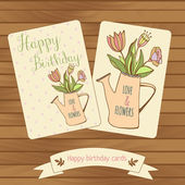 Happy birthaday cards in wood background. Gretting cards flowers bouquet in watercan. Pastel colour — Stock vektor