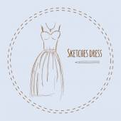 Sketches design dress hand drawn vector illustration. — ストックベクタ