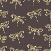 Dragonfly seamless nature pattern. Hand drawn style design — Stock Vector