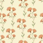 Botanical retro style seamless pattern with flowers. Hand drawn illustration vector. — Stock Vector
