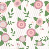 Catoons hand drawn style. Seamless pattern pink flowers nature. — Stock Vector