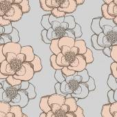 Hand drawing graphic flowers seamless pattern with pastel color — Stock Vector
