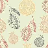 Lemon and pomegranate seamless hand drawn pattern — Stock Vector